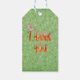 thank you polka dots with butterfly gift tags