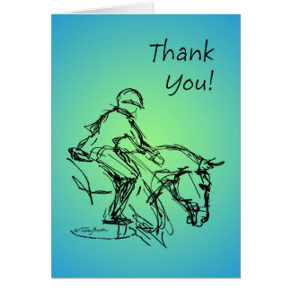 Thank You Pony! Blue-Green Note Card