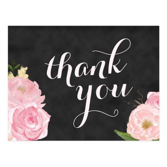 thank you postcard | chalkboard pink floral | Zazzle