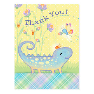 Thank You Postcard lizard, lady bugs, butterfly