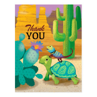 Thank You Postcard Turtle lizard cactus