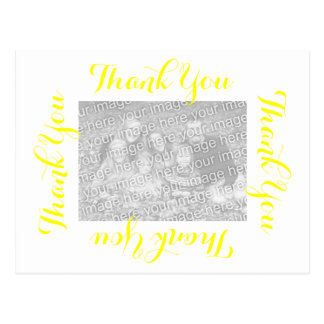 Thank You Postcard Yellow Script with Photo