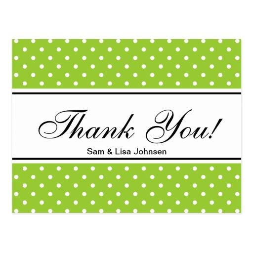 Thank you postcards  | apple green polkadots