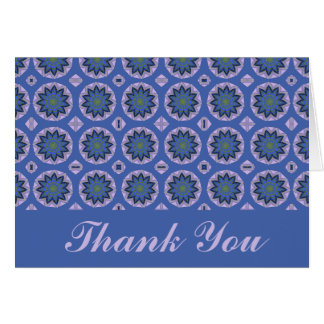 Thank You Pretty Blue Floral Pattern Card