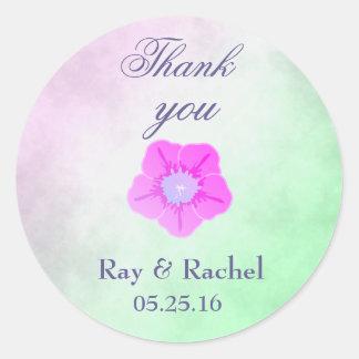 Thank you pretty purple flower classic round sticker