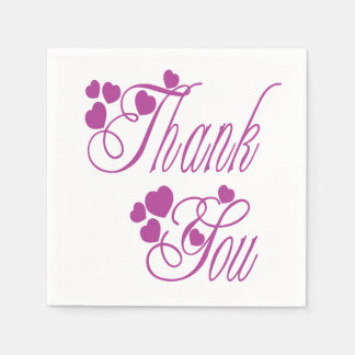 Thank You Purple And White Hearts - Wedding Party Disposable Serviettes