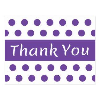 Thank You Purple And White Polka Dots Postcard