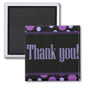 Thank You Purple Dots Black Background Magnet