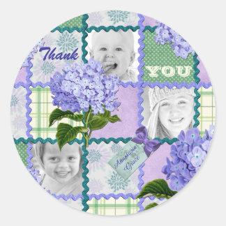 Thank You Purple Hydrangea Instagram Photo Quilt Round Sticker