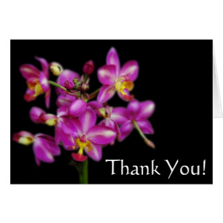 Thank You - Purple orchids on Black background Card