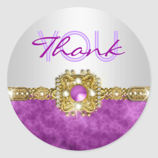 Thank you purple silver hollywood classic round sticker