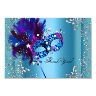 Thank You Quinceanera Party Masquerade Blue 9 Cm X 13 Cm Invitation Card