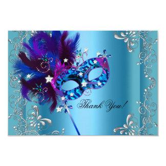 Thank You Quinceanera Party Masquerade Blue 9 Cm X 13 Cm Invitation Card