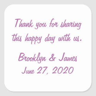 Thank You Radiant Orchid Wedding Stickers