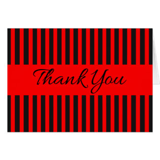 Thank You Red And Black Stripes - Wedding Party Card