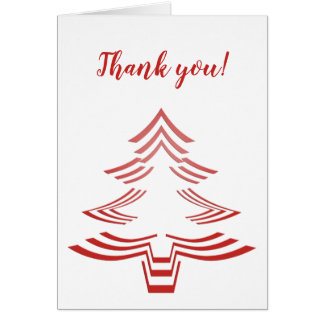 Thank You Red and White Christmas Tree Minimalist Card