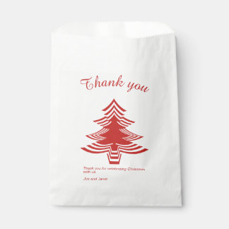 Thank you Red and White Christmas Tree Pattern Favour Bag
