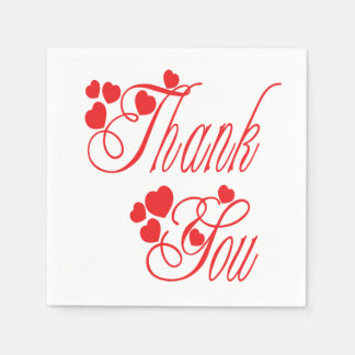 Thank You Red And White Hearts - Wedding Party Paper Napkin