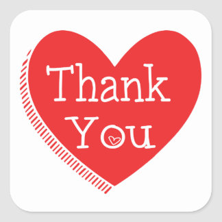 Thank You Red And White Love Heart Wedding Square Sticker