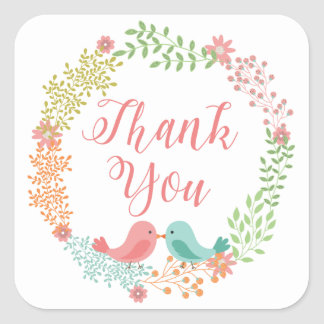 Thank You Red And White Lovebirds Love Square Sticker