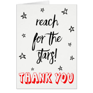 Thank You Red Black & White Stars Wedding Dreams Card