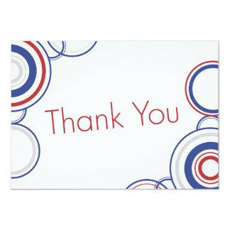 Thank You - Red & Blue Circles 13 Cm X 18 Cm Invitation Card