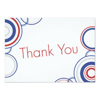 "Thank You - Red & Blue Circles 5"" X 7"" Invitation Card"