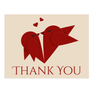 Thank You Red Burgundy Lovebirds Pink Wedding Postcard