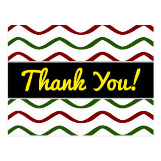 """""""Thank You!"""" + Red & Green Wavy Lines Pattern Postcard"""