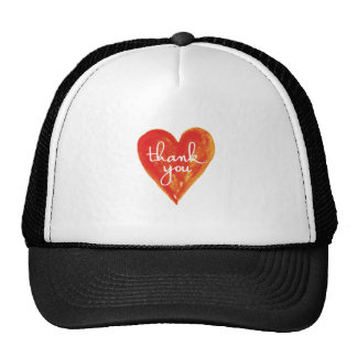 thank you, red heart with text cap