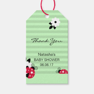 Thank You Red Ladybug Green Mint Lime Baby Shower Gift Tags