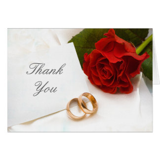 Thank you red rose wedding note card