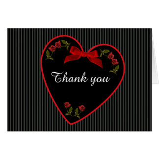 """""""Thank You"""" Red Roses Floral Photography Black Card"""