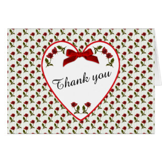 """""""Thank You"""" Red Roses Floral Photography Card"""