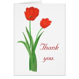 Thank you, red tulips, wedding cards