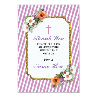 Thank You Religious Pink Stripe Floral Cards