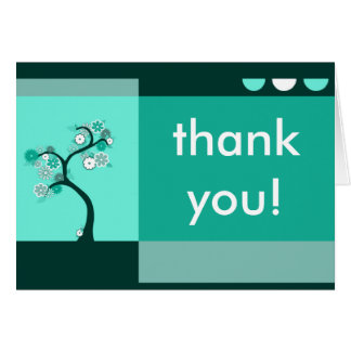 thank you : retro tree greeting card
