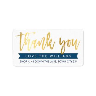 THANK YOU return address hand lettered gold navy Address Label