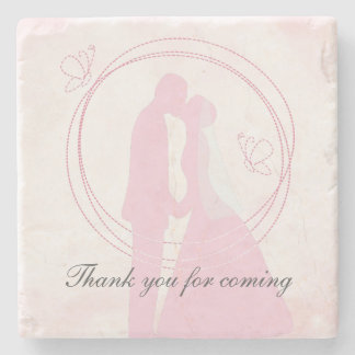 Thank You Romantic Dreamy Pink Wedding Couple Stone Beverage Coaster