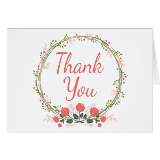 Thank You Rose Floral Wreath Red Pink Card