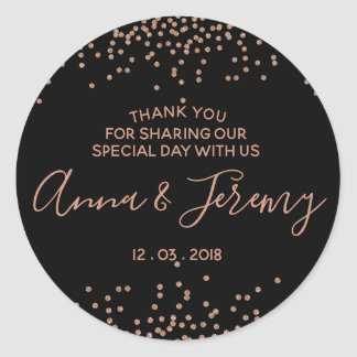 Thank you Rose Gold and Black Confetti Sticker