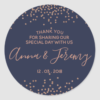 Thank you Rose Gold and Navy Blue Confetti Sticker