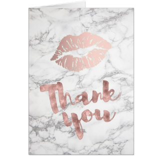 thank you rose gold lips on marble card