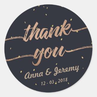 Thank you Rose Gold Navy Blue Wedding Sticker