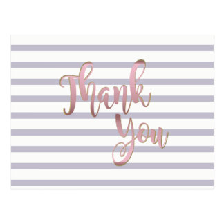 Thank You  Rose Gold Striped Glitter Clean Postcard