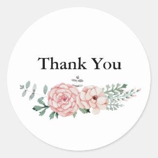 Thank You Round Sticker - Floral Wreath Design