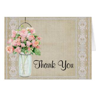 Thank You Rustic Country Mason Jar Blush Pink Rose Note Card