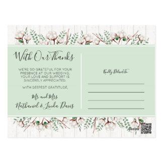 Thank You Rustic Southern Cotton & Wood Newlyweds Postcard