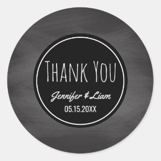 Thank You Rustic   Wedding Favor Chalkboard Classic Round Sticker