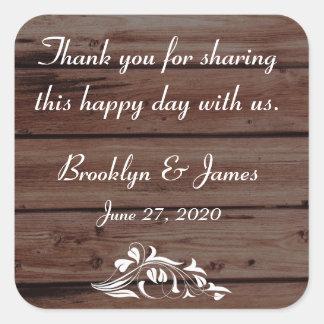 Thank You Rustic Wedding Stickers Flower Decor